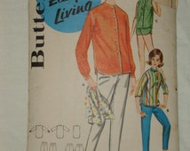 1960s 60s Vintage Shirts in Three Views Pants and Shorts with Shaped Hemline COMPLETE Butterick Pattern 2290 Bust 36 Inches 92 Metric