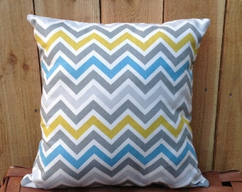 Blue, Aqua, Green, and Gray Chevron Decorative Throw Pillow Cushion Cover, Zig Zag, Choose Size