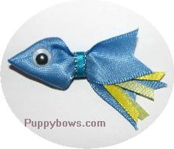 Puppy Bows ~Cute little fishie dog hair bow animal pet hair clip accessories USA seller