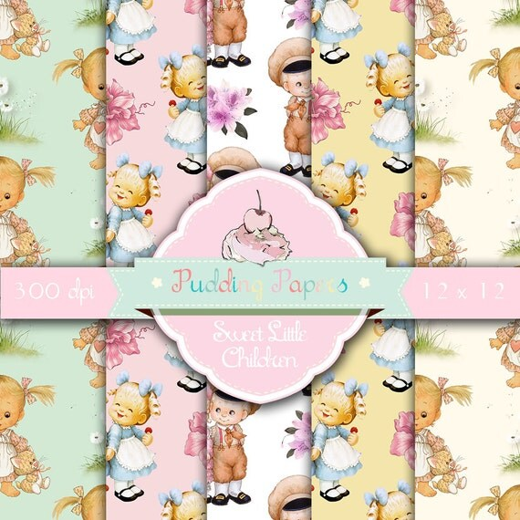 "Children digital paper : ""Sweet Little Children"" baby ..."