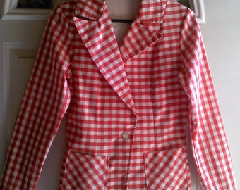 Vintage Red and White Gingham Blazer