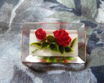 Clear 3D Window Rose Brooch