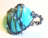 Wire Wrapped Turquoise Toned Ring