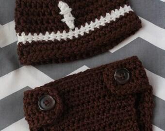 Football Beanie & Diaper Cover w/Optional Bow (Newborn-12 months)
