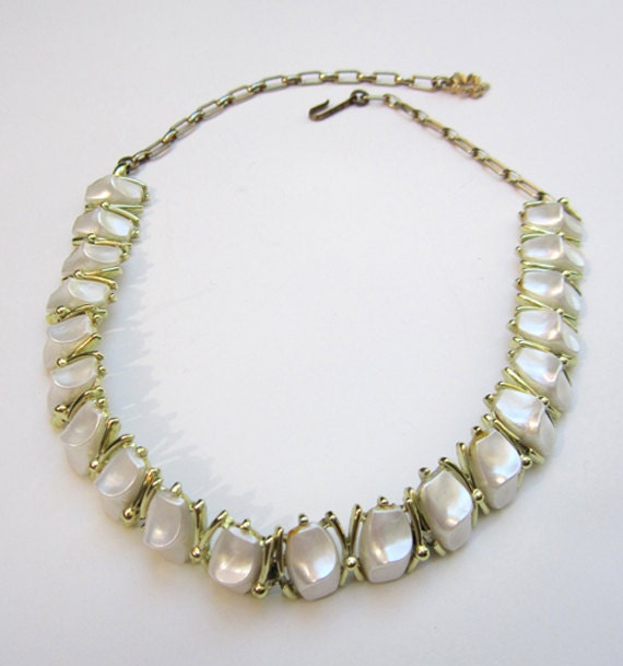 Is Monet Jewelry Real >> Vintage pearly white lucite gold tone choker necklace signed