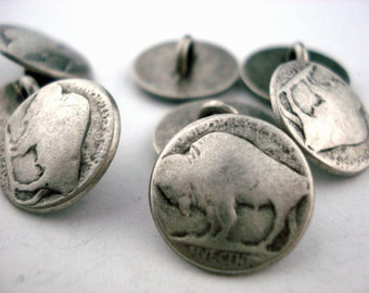 "BUFFALO Nickel Metal Buttons 5/8"" Antique Silver, Shank Back Button, Qty 4 to 12, Buffalo Head Nickel 15mm Clothing or Leather Wrap Clasps"