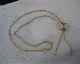 "Vintage ""BUTTERFLY LARIAT"" Necklace"