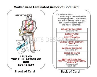 Full Armor Card. Item  SC-67 Witnessing Tool - 2 1/8 x 3 3/8 Double sided Laminated Card