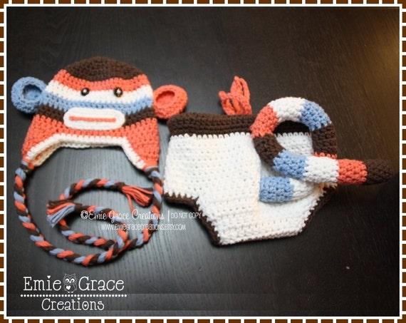 Free Crochet Pattern Monkey Diaper Cover : Sock Monkey Crochet Hat and Diaper Cover Set 3-6 Mo.