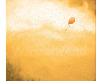 Print of an oil painting - The Orange Balloon II (13,5 x 13,5 inch) Colour Variation gold
