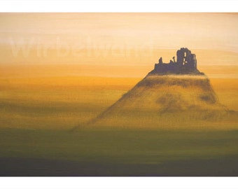 Print of an acrylic painting - Ruin in the Fog (17 x 12 inch) Original Colours