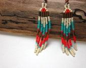 Tropical Beach, Modern Native American Inspired Beaded Earrings