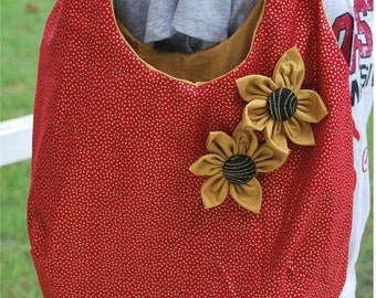 FSU Florida State Seminoles Noles Gold Garnet Tote Bag Purse with Flowers