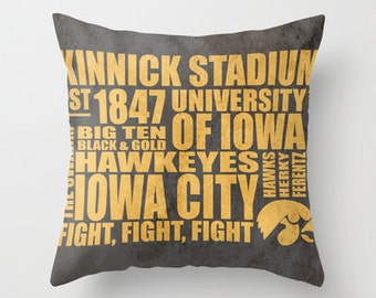 University of Iowa Typography Pillow
