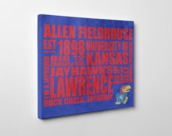 "University of Kansas Jayhawks Typography Canvas Print [Choose from 8""x10"" or 16""x20""]"