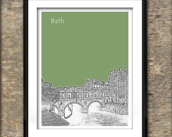 Bath Art Print Skyline Poster A4 Size Pulteney Bridge England