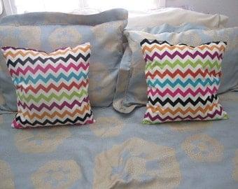 Set of two chevron accent pillows