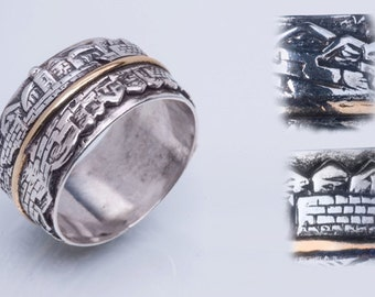 """Silver and gold combination ring """"My Jerusalem""""."""