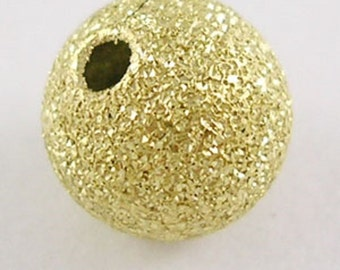 20 x 8mm Stardust Gold Plated Round GLITTER Beads Round Sparkle Beads - Metallic Beads - RB24