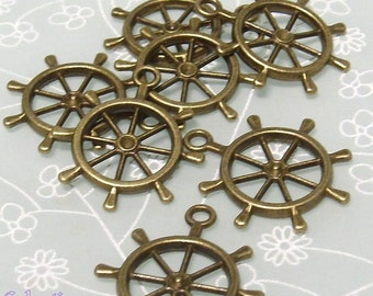 5 x Antique Bronze Ships Wheel Steampunk Charms - Pendants - LF NF - 29mm - TS250