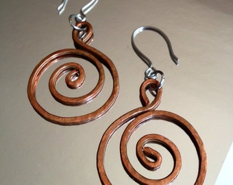 Textured Copper Spirals on Stainless Hooks