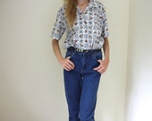 Blue and White Vintage Patterned Blouse