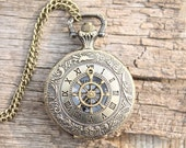 pirate steampunk rudder quartz pocket watch locket necklace mens vintage style - sklopz