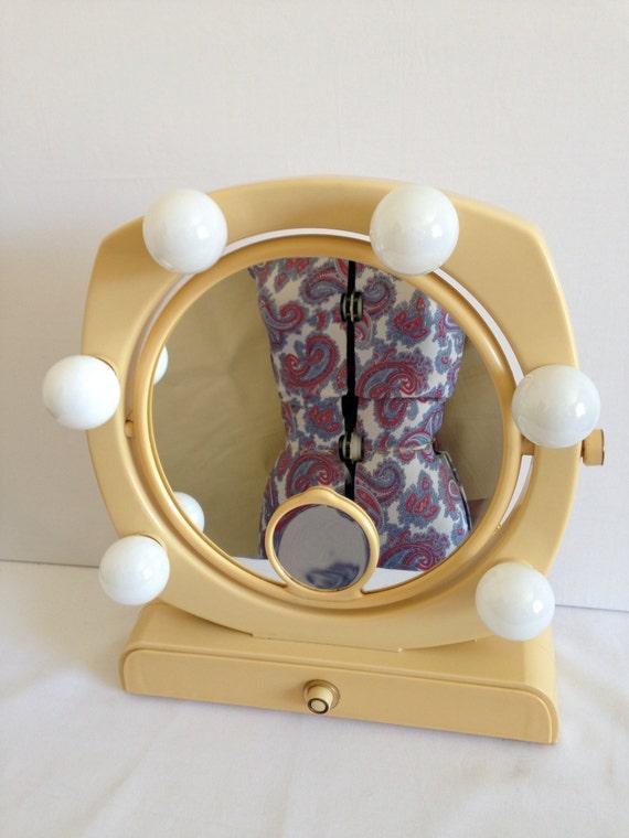 Vintage Mini Make-up Vanity Mirror Art Deco Lights Drawer Mid