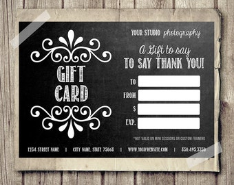 Gift card gift certificate template for photographers camera gift card certificate template for photographers chalkboard gift card printable 35x5 chalk gift yelopaper Image collections