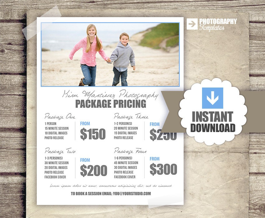Photography Price List Pricing List for Photographers – Pricing Sheet Template