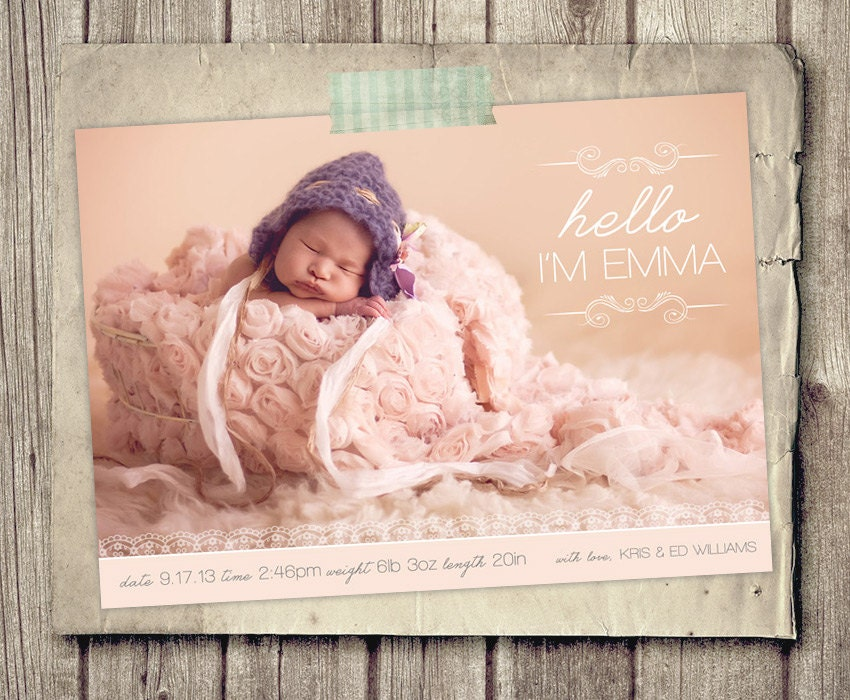Photo birth announce | Etsy