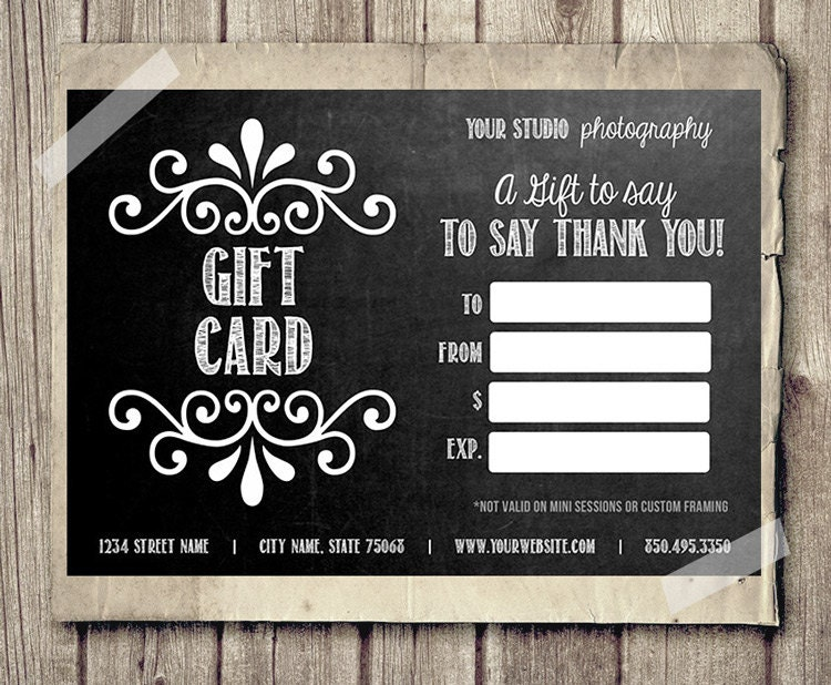 Gift card certificate template for photographers chalkboard for Free printable hair salon gift certificate template