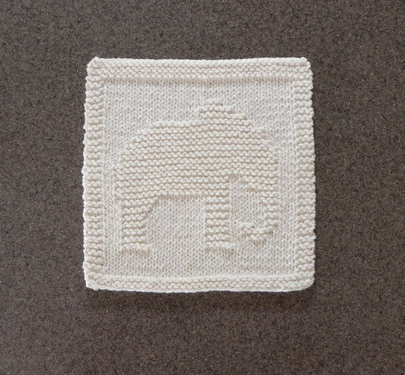 Elephant Knit Dishcloth. Ivory Cream. Hand Knitted Unique