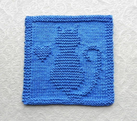 Knitting Pattern Cat Dishcloth : CAT & HEART Knit Dishcloth Hand Knitted Unique Design Royal