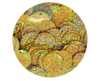 Sequin Paillettes  20mm flat round Gold Hologram Multi Metallic