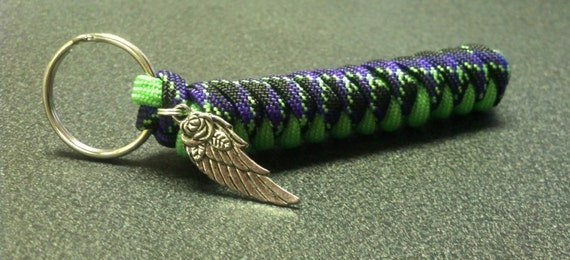 Items similar to handmade paracord keychain with angel for Things made out of paracord