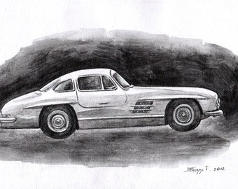 Original, Painting, Watercolor,  Car, Dream Car, 7,6 x11,6 inch. NOT a print. Tatiana-Art