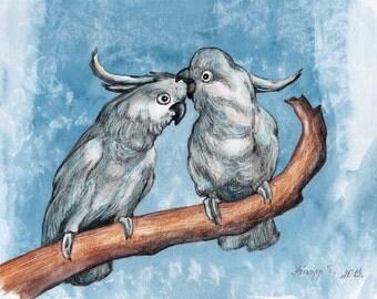 Parrot. Original Painting, Watercolor, Handpainted, 7,6 x11,6 inch. NOT a print. Tatiana-Art
