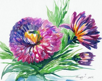 Flowers, landscape, original watercolor painting, handpainted, 7,8 x 11,8 inch. NOT a print. nature, blue, green,purple