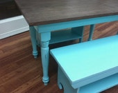 Children's play table and benches in Aqua and Espresso