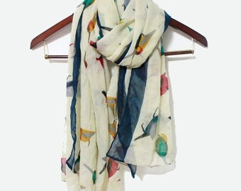 Bird Scarf, Ivory White Bird Scarf, Colorful Birdy Scarf, Fashion Scarf, Fashion Accessories, Womens Scarves, Gift for Mom, Mom Gifts