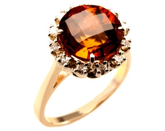Yellow Citrine Diamond Ring