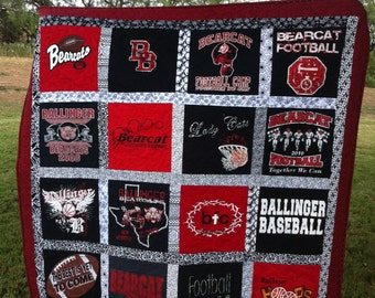 T-shirt Quilt Custom Made - Memory Quilt Made from 15 to 49 t-shirts