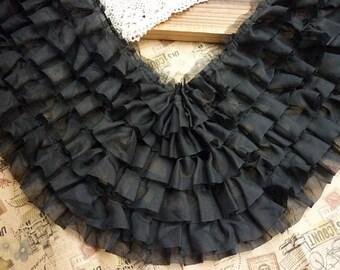 """Lace Trim Fabric Black Chiffon Trim 6 Layers Wedding Fabric DIY Handmade 7.87"""" width 1 yard"""