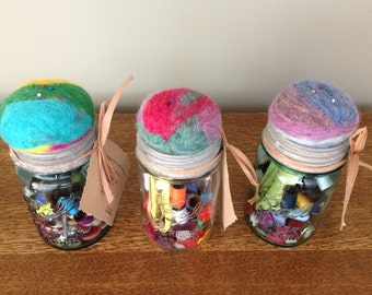 Felted Vintage Ball Jars with Sewing Kit