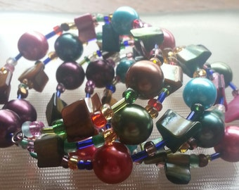 Colorful Glass Bead Coil Bracelet