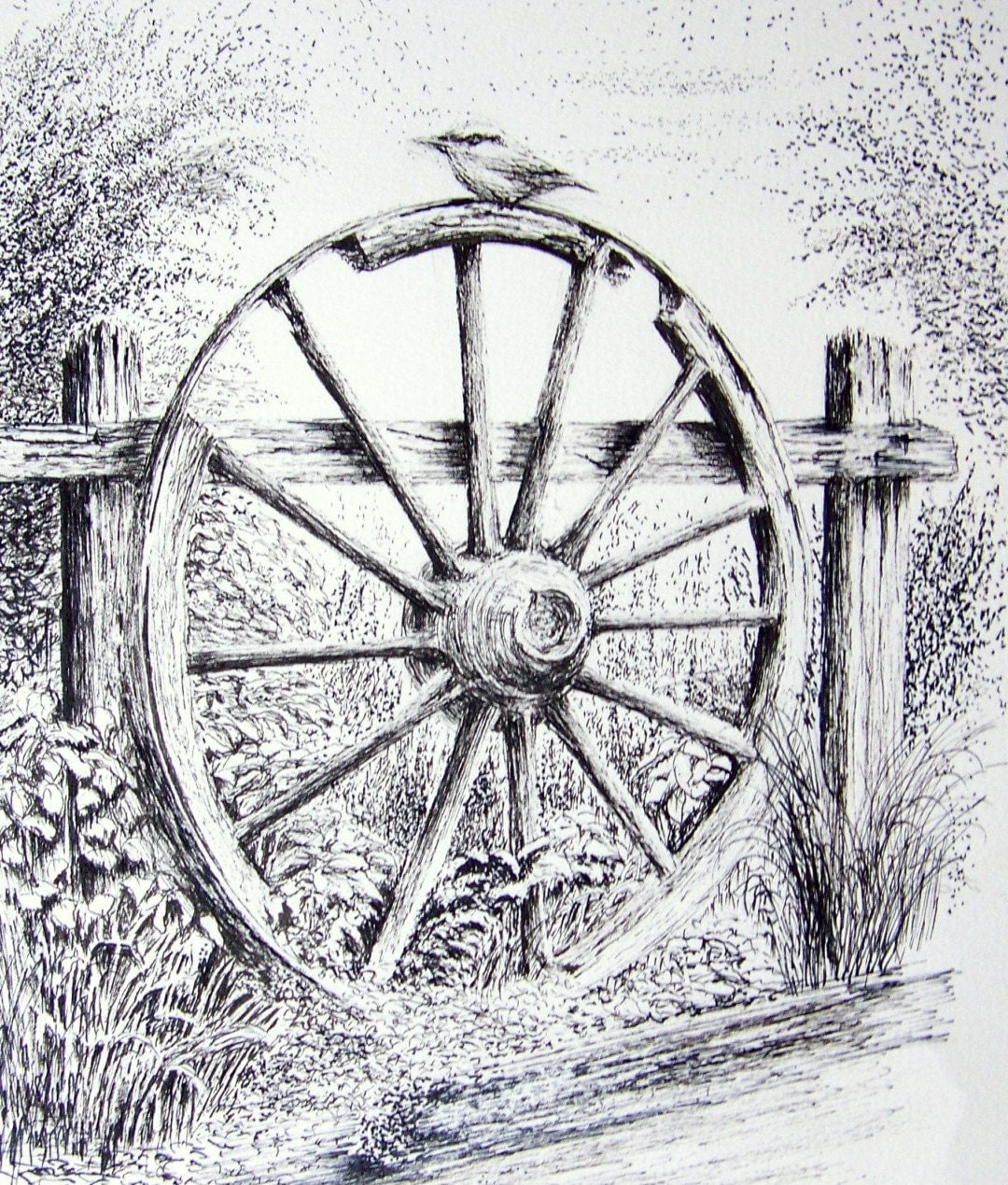 Old Wagon Wheel Graphite Pencil Drawing. Print from an