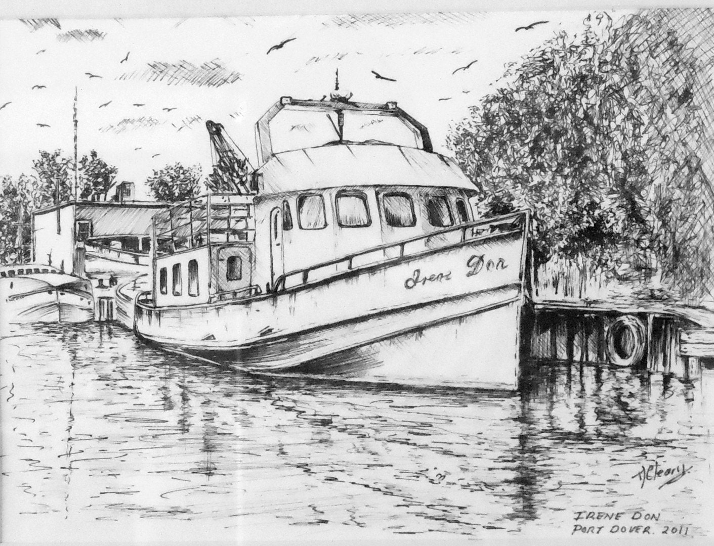 Fishing boat drawing a print from an original drawing by for How to draw a fishing boat