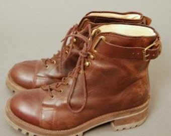 1990's Vintage Brown Leather Military Boots by GAP, Size 7, 7.5