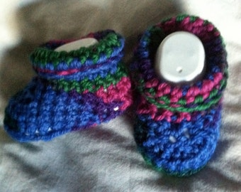 Crochet Variegated Baby Boy Slippers or booties